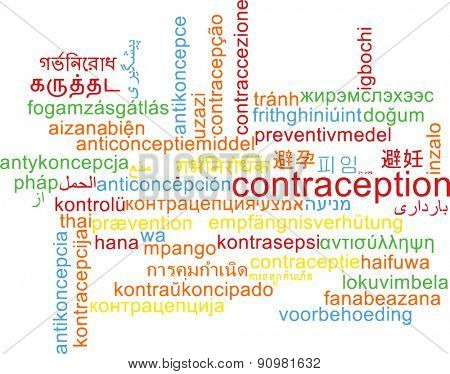 Background concept wordcloud multilanguage international many language illustration of contraception