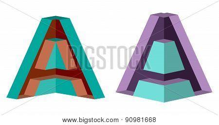3D Letter A Logo Icon Design Template Element