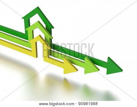 House shape arrows. Business concept.
