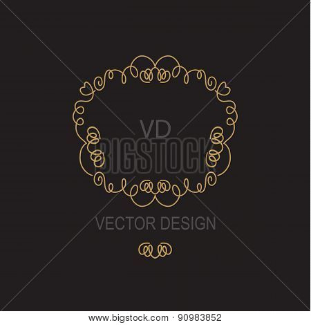 Vector geometric frame in mono line style. Design element