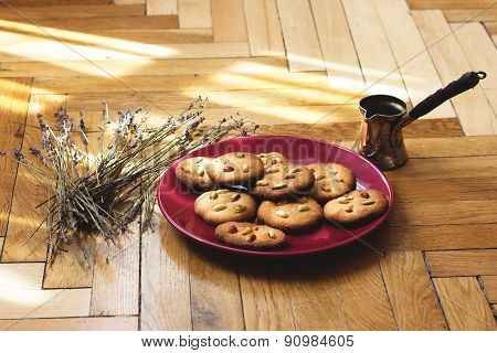 Cookies with peanuts, side lavender on wooden floor