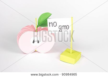 isolated half paper apple and signboard