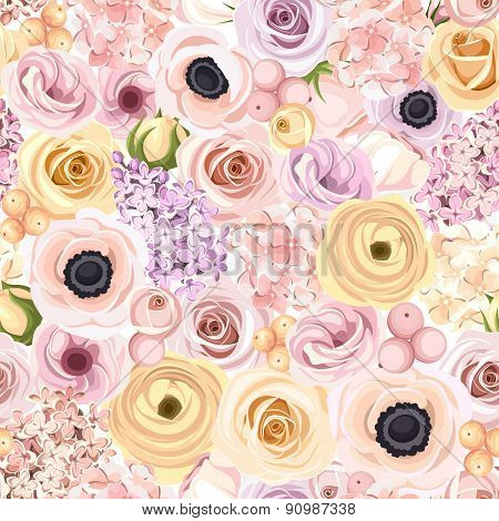 Seamless background with various colorful flowers. Vector illustration.