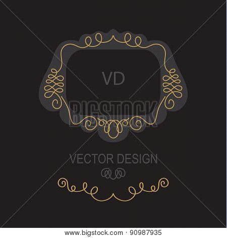 Premium Art Nouveau frame copy space for text in  mono line style