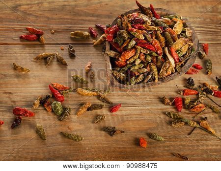 Chili Peppers On A Rustic Wooden Board