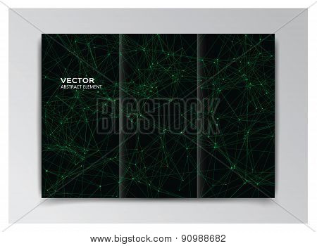 Black Template Of Booklet With Abstract Green Elements