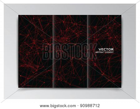 Black Template Of Booklet With Abstract Red Elements