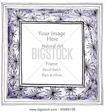Flower Star Pencil Sketch Picture Frame
