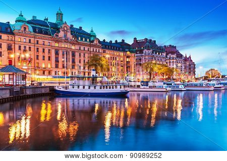 Evening scenery of Stockholm, Sweden