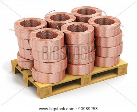 Stacked hunks of copper cable on shipping pallet