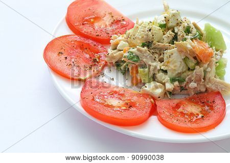 Appetizing Chicken Salad Decorated With Tomatoes