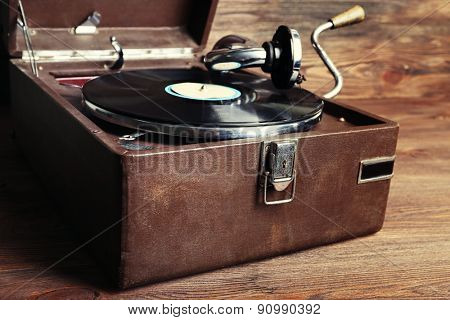 Vintage turntable vinyl record player close up