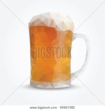 Modern Polygon Illustration Of Glass Of Beer, Vector
