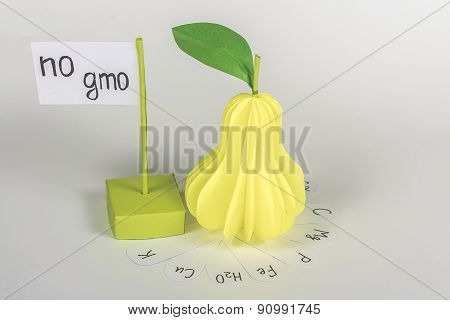 isolated paper pear and card with words