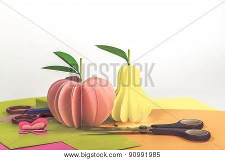 scissors and paper fruits - example preschool art paper