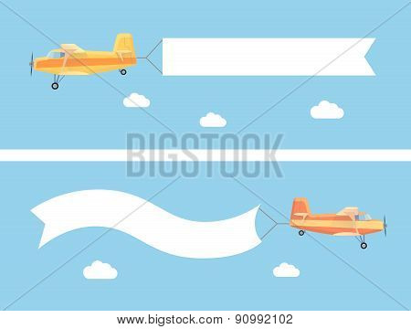 Flying vintage plane with the advertising banner modern flat concept. Template for a text web banner