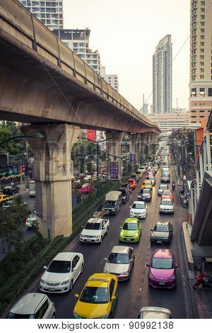 BANGKOK, THAILAND - FEBRUARY 7, 2015: Traffic jam in Bangkok on February 7, 2015.