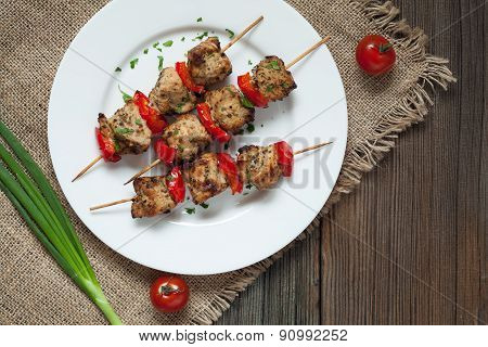 Traditional delicious turkey kebab skewer barbecue meat with tomatoes and green onion on white dish.