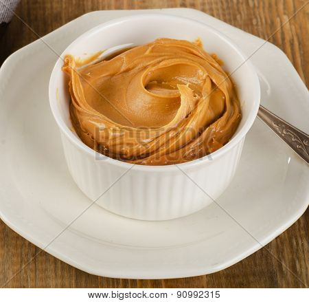 Peanut Butter In A White Bowl