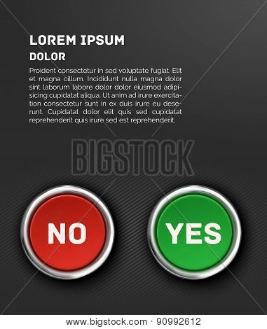 YES and NO buttons, 3d red glossy metallic icons, vector template.