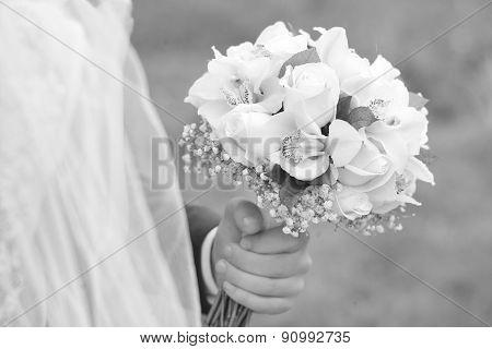 Fiance Holding Bouquet