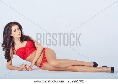 Young woman in underwear