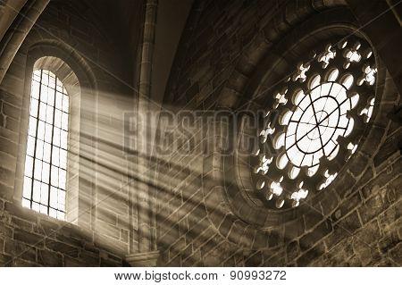 Church Window With Sunbeams