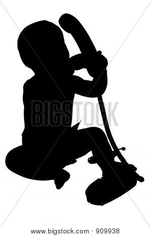 Silhouette With Clipping Path Of Baby With Phone
