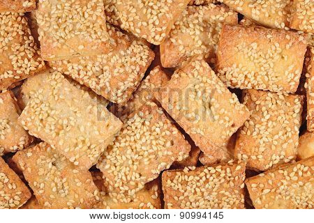 Cookies With Sesame Seeds Background