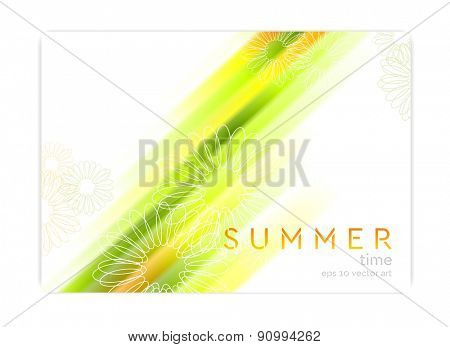 Abstract concept summer background with glowing stripes and camomiles. Vector design