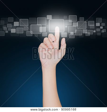 Close Up Hand Click On Button Furture Technology Concept