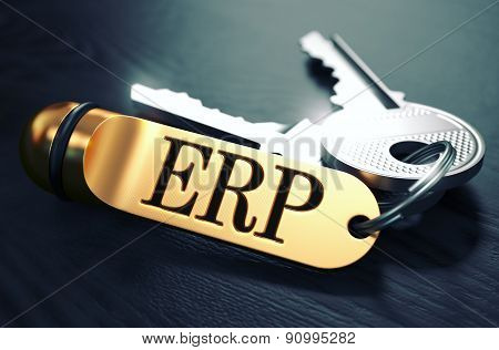 ERP Concept. Keys with Golden Keyring.