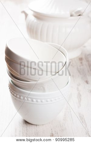 White crockery for soup