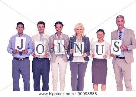 Business people holding letters sign on white background