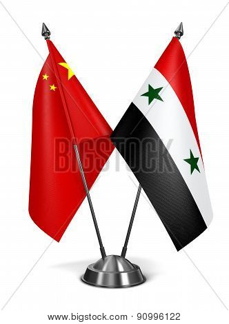 China and Syria - Miniature Flags.