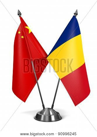 China and Romania - Miniature Flags.