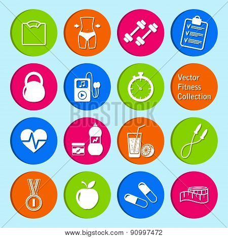 vector set of fitness and health life icons
