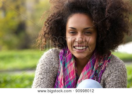 Natural African American Woman Smiling Outside