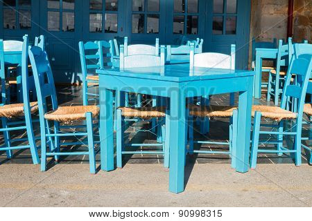 cafe with blue chairs, Crete, Greece