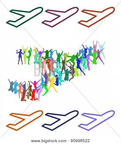 Many People Plane made of Vector Silhouettes Isolated