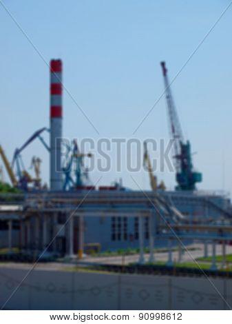Defocused And Blur Image Of Buildings Seaport