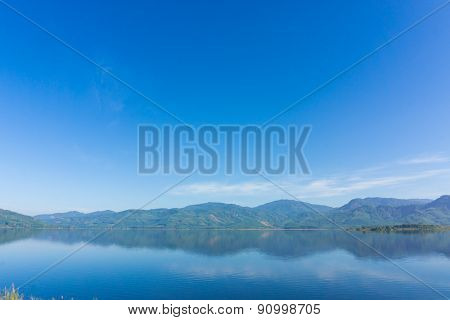 Scence Of Reservoir And Mountain