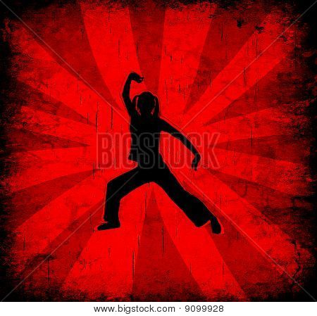 Dynamic Oriental Silhouette On Grunge Red Background
