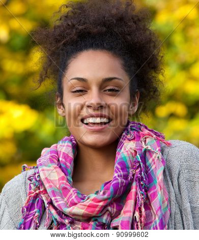 Happy African American Woman Laughing Outside