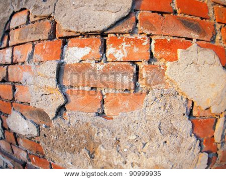 Fragment Of An Old Peeling Brick Wall