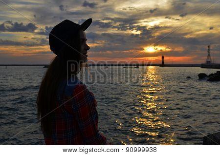 Summer Beautiful Girl At Sunset