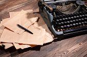 picture of typewriter  - Old retro typewriter on table close - JPG