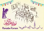 foto of kareem  - Collection of Hand Drawn Ramadan Festivity Image Themes with Ramadan Kareem Greeting in Arabic Calligraphy and English version of it - JPG