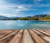 picture of bavarian alps  - Wooden planks European nature background with lake in Alps - JPG