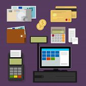 stock photo of cash  - payment point of sales pos register icon cash credit set - JPG
